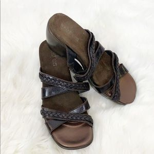 Naot Brown Strappy Braided Sandal Slides